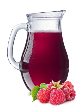 Raspberry juice in a misted pitcher