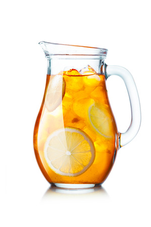 Tea with ice in a pitcher