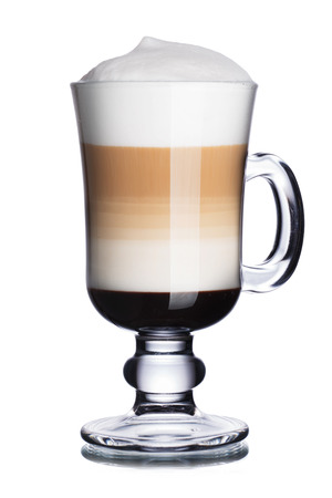 capuchino: Glass of coffee cocktail with chocolate syrup