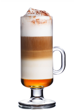 capuchino: Glass of coffee cocktail with cappuccino,cocoa and toffee syrup Stock Photo