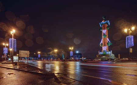 peterburg: Rostral columns on Christmas in Petersburg, Russia. Columns is located on the Spit of Vasilievsky Island