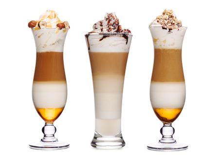 toppings: Sweet coffee cocktails with toppings decorated with various nuts