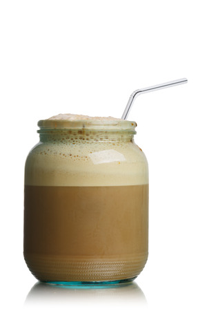 seltzer: Glass jar of homemade New York Egg Cream fizzy drink contains neither eggs nor cream. The basic ingredients are milk, seltzer, and chocolate syrup