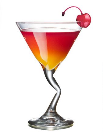 Mary Pickford alcoholic cocktail in a glass decorated with maraschino cherry. All day official IBA cocktail.
