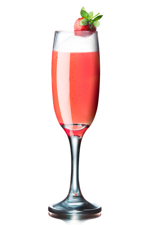 bellini: Rossini alcoholic cocktail (a kind of famous Bellini family with fresh strawberry puree) Stock Photo