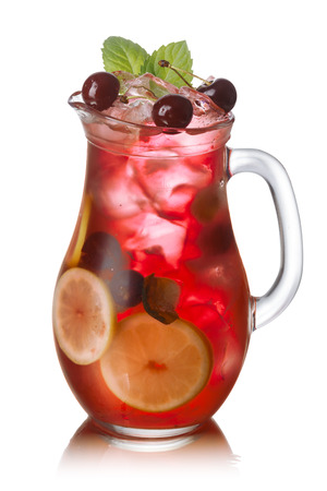 Pitcher of cherry mint lemonade
