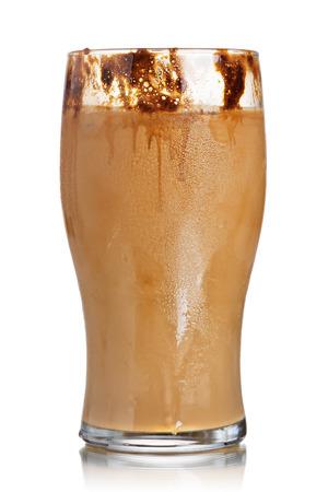 highball: Milk coffee cocktail from frozen coffee cubes in highball glass. Iced milk coffee