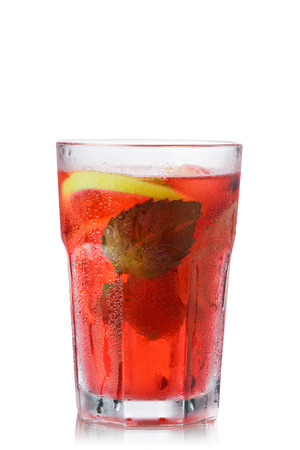 highball: Strawberry mojito  in misted faceted highball glass