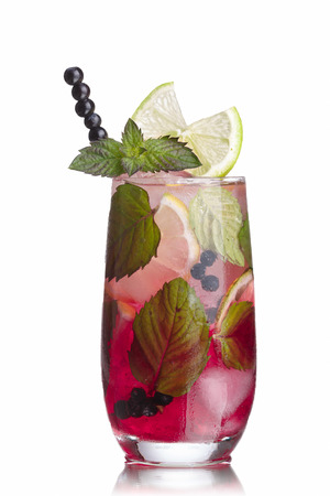 Blueberry mojito garnished with lime slice,skewered blueberries and fresh mint