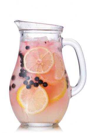 bilberry: Misted pitcher of blueberry lemonade. Jug full of bilberry lemonade