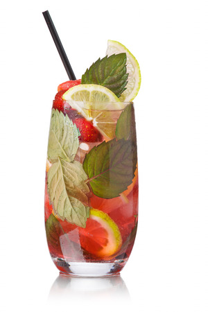 origanum: Strawberry mojito with black straw garnished with lime slice and fresh mint leaf