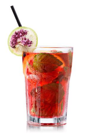 marjoram: Strawberry mojito garnished with lime slice and marjoram (wild oregano) Stock Photo