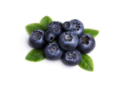 bilberries: Bilberries or blueberries with leaves Retouched to resemble painting, excessive berries details muted, texture smoothed. Stock Photo