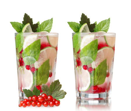 redcurrant: Redcurrant mojito. Refreshing alcoholic cocktail with red currant,lime,rum and mint
