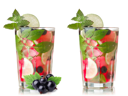 blackcurrant: Blackcurrant mojito. Refreshing alcoholic cocktail with black currant,lime,rum and mint Stock Photo