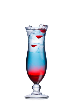 Patriotic layered alcoholic cocktail in hurricane glass