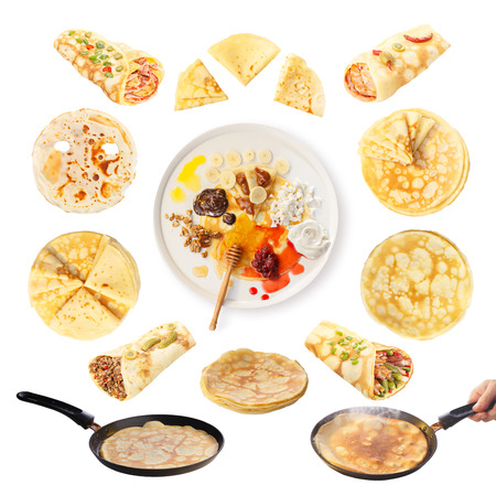 salty: Set of crepes isolated on white