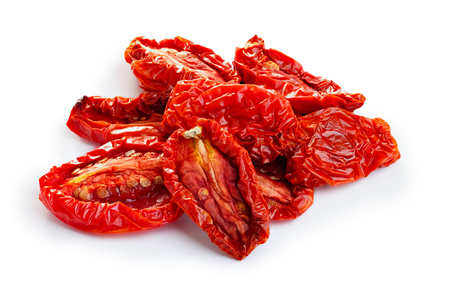 red sun: Sun dried tomatoes isolated on white with smooth shadow Stock Photo