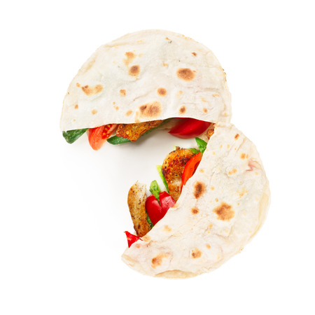 gyros: Gyros pita, a kind of shawarma with chicken and vegetables