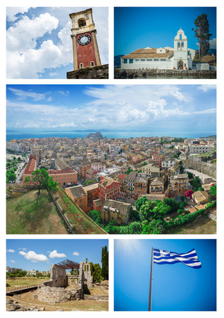 kerkyra: Corfu (Kerkyra) collage. Set of attractive Corfu sights Stock Photo