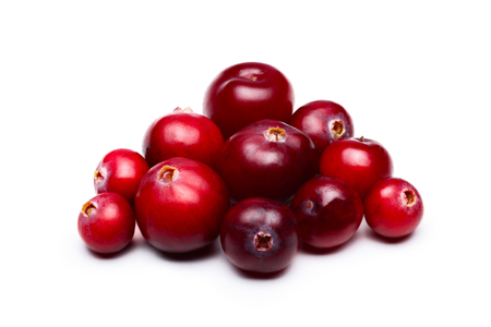 Wild cranberries isolated on white with smooth drop shadow. Studio shot, infinite depth of field, retouched Zdjęcie Seryjne
