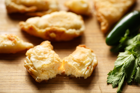 puff pastry: Homemade cheese stuffed patties made from puff pastry (phyllo)