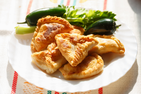 pastes: Homemade cheese stuffed patties made from puff pastry (phyllo)