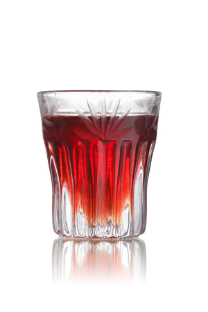 slut: Red-headed slut alcoholic cocktail in faceted shot glass (shooter)