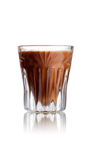 shooter drink: Chocolate Cake alcoholic cocktail in faceted shot glass (shooter)