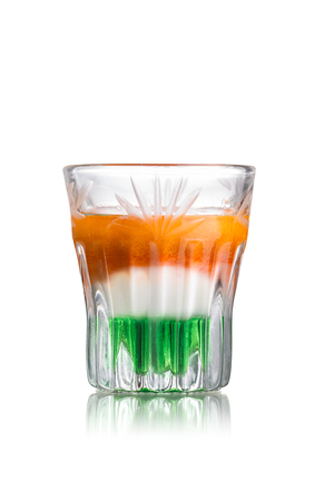 shooter drink: Irish flag alcoholic cocktail in shot glass (shooter)