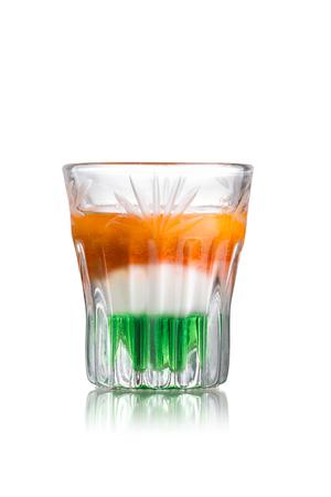 liqueurs: Irish flag alcoholic cocktail in shot glass (shooter)