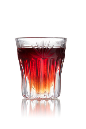 shooter drink: Cranberry cookie alcoholic cocktail in shot glass (shooter)