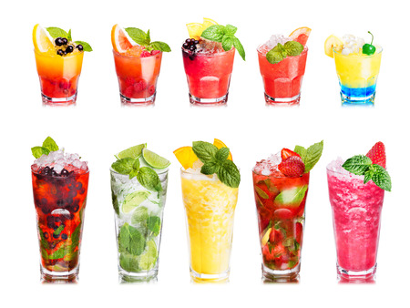 cocktails: Set of isolated cocktails or mocktails with fruits in highball glasses. Garnished, decorated, colorful, clean,vivid colors