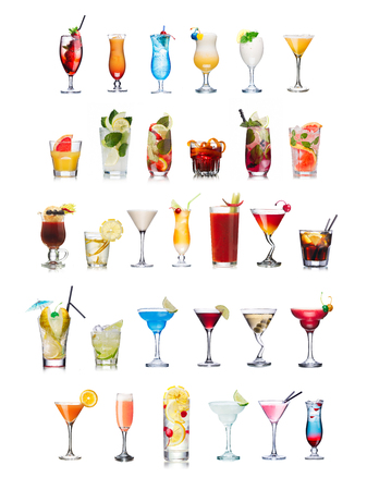 Set of isolated cocktails and mocktails with fruits in highball glasses. Garnished, decorated, colorful, clean,vivid colors. World popular