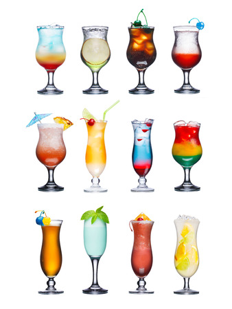 blue glass: Set of isolated cocktails or mocktails with fruits. Served in hurricane glasses, garnished, decorated, colorful, clean,vivid colors