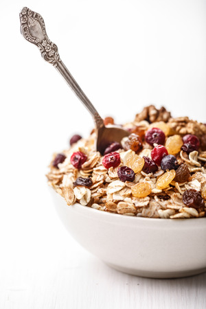 concord grape: Cereal with dried cranberries, black and golden raisins,fruits and maple syrup. Healthy eating