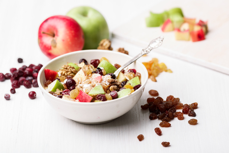 concord grape: Oatmeal with dried cranberries, black and golden raisins, red and green apples, walnuts and maple syrup. Healthy eating