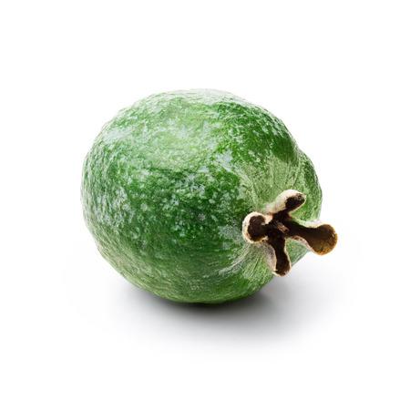 retouched: Single Feijoa-edible green fruit resembling guavas. Studio shoot, infinte depth of field,retouched