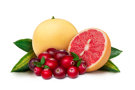 florida citrus: Pink grapefruit with cranberry isolated on white. Large depth of field