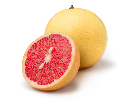 florida citrus: Pink grapefruit isolated on white. Large depth of field