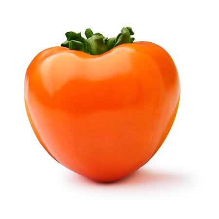 diospyros: Whole Hachiya persimmon (fruit of Diospyros kaki) isolated on white. Hi gloss appearance, infinite depth of field Stock Photo