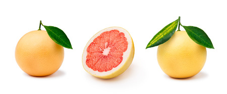 florida citrus: Whole and halved grapefruits isolated on white. Large depth of field Stock Photo