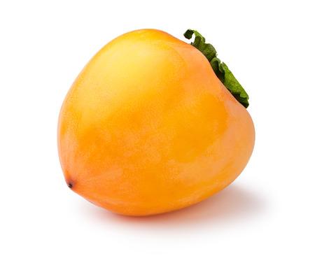 diospyros: Whole Hachiya persimmon (fruit of Diospyros kaki) isolated on white. Matt, scuffed appearance, infinite depth of field Stock Photo