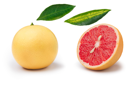 florida citrus: Set of whole and slice pink grapefruit isolated on white. Explopded view. Large depth of field