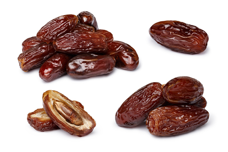 Dried dates (fruits of date palm Phoenix dactylifera).  Clipping paths for both objects and its shadows. Infinite depth of field, retouched. Set, bundle,collection
