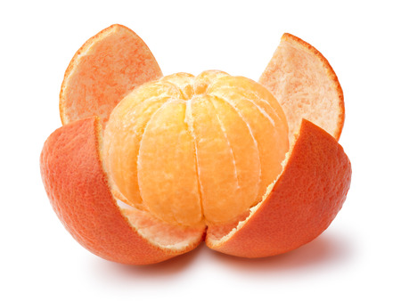 clementine fruit: Tangerine, mandarin or clementine peeled, whole. Clipping paths, large depth of filed Stock Photo