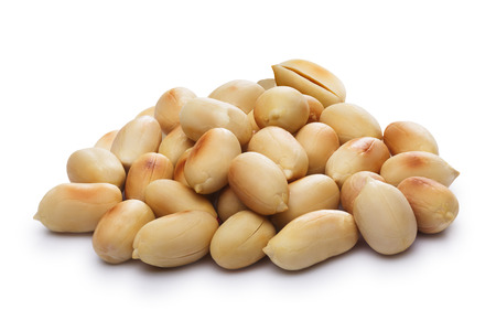 Heap of whole shelled peanuts, blanched,roasted.