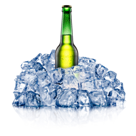 green beer bottle: Green beer bottle, cooling down in a rough crushed ice. Clipping paths