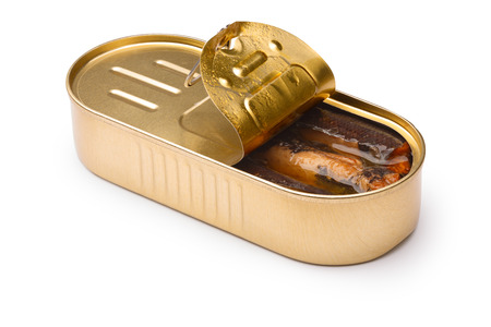 objects with clipping paths: Smoked fish, sardines or sprats in half-opened tin. Stock Photo