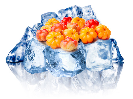 chicouté: Heap of wild cloudberries freezing on rough crushed ice. Clipping paths for cloudberry, FG ice, BG ice, reflection and for whole composite Banque d'images